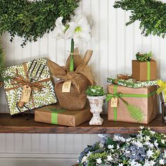 Garden-Inspired Wrap | Let your love of gardening carry over to the gifts you give. Try an amaryllis in bloom wrapped in burlap, glue pressed leaves to a gift box wrapped in kraft paper, or top off a package with a useful tool to accent your bow.