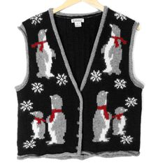 Penguins in Scarves Wool Tacky Ugly Christmas Vest