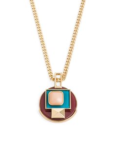 DECO DIAL PENDANT - Aptly named for it's obvious Art Deco inspiration, the colors and shapes of this gold plated chain pendant mean it's a no-brainer for added edgy charm and decoration.