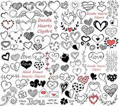 BIG SET of Doodle Hearts Clipart Heart clip art Digital simple drawing inspiration Love Doodles, Doodle Drawings, Doodle Art, Heart Drawings, Love Heart Drawing, Doodle Books, Zen Doodle, Heart Clip Art, Sketch Note