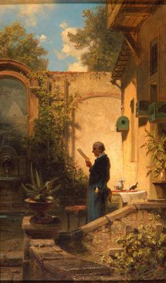 The Morning Reading by Carl Spitzweg, ca. Classical Period Art, Carl Spitzweg, Art Periods, Milwaukee Art Museum, Haitian Art, Classic Paintings, Painting People, Art For Art Sake, World Of Color