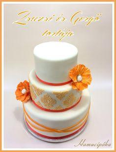 Hamucipóka: Zsuzsi és Gergő tortája, egy szeptemberi narancsos damasztos üdeség
