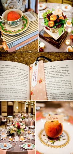 Book-themed wedding reception! Would be awesome for a bridal shower too!