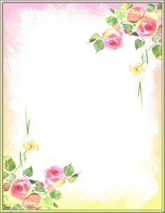 Pink and yellow roses (link is dead) Borders For Paper, Borders And Frames, Rose Frame, Flower Frame, Envelopes Decorados, Page Borders Design, Border Design, Printable Lined Paper, Stationery Paper
