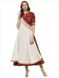 Printed Anarkali #Kurti With Elbow Sleeves Pattern - Floral & Tropical Material - Rayon Color - Cream & Maroon