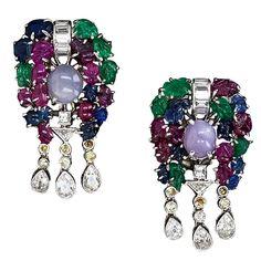Multi-Stone and Diamond 'Tutti Frutti' Earrings - Art Deco | From a unique collection of vintage dangle earrings at http://www.1stdibs.com/jewelry/earrings/dangle-earrings/