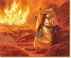 Hebrew Mythological tale of Yaweh calling Moses from out of a burning bush Bible Pictures, Jesus Pictures, Bible Art, Bible Scriptures, La Sainte Bible, Christian Artwork, Burning Bush, Bible Illustrations, Creation Photo