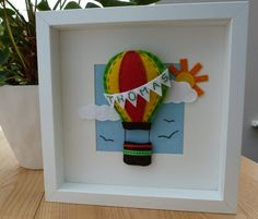 Items similar to 3D Hot Air Balloon Felt Picture, Christening Gift, Personalised Felt Box Frame, Personalized Nursery Decor on Etsy