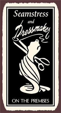 Dressmaker Seamstress on the Premises Laundry by vintagemetalart