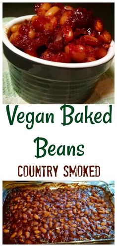 Need something special for a picnic or potluck? These Country Smoked Vegan Baked Beans are sure to be a hit! Only 1 gram of fat and a whopping 22 grams of protein per serving. They can even be made in a crock pot or slow cooker Baked Beans Crock Pot, Bbq Baked Beans, Baked Bean Recipes, Crockpot Recipes, Cooking Recipes, Vegetarian Baked Beans, Vegetarian Recipes, Vegetarian Dinners, Vegetable Recipes
