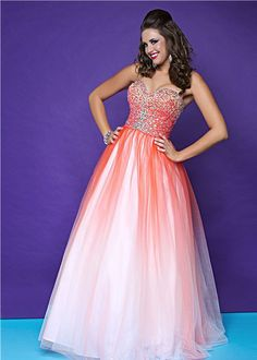 Hot Pink Ombre Sequin & Tulle Sweetheart Lace Up Plus Size Prom Gown - Unique Vintage - Cocktail, Pinup, Holiday & Prom Dresses. make it a little more delicate and could be a super cute maid dress Orange Prom Dresses, Sequin Prom Dresses, Prom Dresses For Teens, Orange Dress, Homecoming Dresses, Cute Dresses, Strapless Dress Formal, Bridesmaid Dresses, Formal Dresses