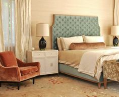 Love the tone-on-tone wall and window treatments with the pop of blue and orange...yet subtle and calming.