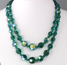 Vintage 50's Multi 2 Strand Green AB Crystal Glass Graduated Bead Necklace #Necklace