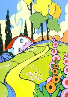 Alida Akers - Alida Akers - Set of 5 Retro Deco Cottage Note Cards from Ode to Clarice Cliff Series.
