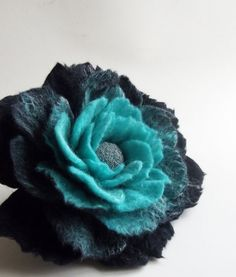 Felted Flower Brooch Hand Felted Jewelry Flower Pin  by FeltFatal, $26.00