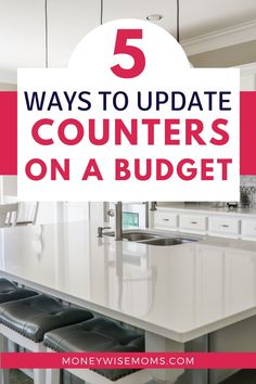 Get 5 ways to update counters on a budget for your kitchen or bathroom. Frugal home improvement tips and smart ideas to refresh these most-often-used rooms. #homeimprovement #budget #savemoney #moneywisemoms #kitchen #bathroom Countertop Paint Kit, Painting Countertops, New Countertops, Butcher Block Countertops, Floors And More, Habitat For Humanity, White Kitchen Cabinets, Updated Kitchen, Shower Tub