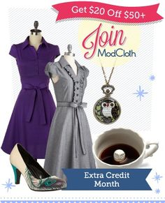 Save 20 bucks off of 50 order all month on modcloth.com, pretty good deal. I love their stuff.