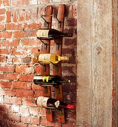 Wine rack made from oak barrel - could also use old wooden skis.