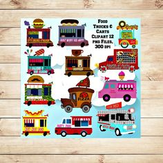 Food Trucks Clipart Cute Food Vehicles Digital Scrapbooking Party Decor & Favors Card Making Invitatioins Gift Tag Making Commercial (1.95 USD) by TbLSimplyDigital