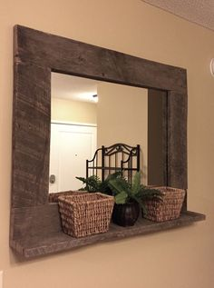 Rustic Wood Mirror Pallet Furniture Rustic Home Decor Reclaimed Pallet Wood Large Wall Mirror Hanging Mirror with Shelf DIY Wood Working projects: Rustic Wood Mirror Pallet Furniture Rustic Home De… Mirror With Shelf, Wood Mirror, Diy Mirror, Mirror Hanging, Wall Mirrors, Mirror Ideas, Entryway Mirror, Pallet Mirror Frame, Huge Mirror