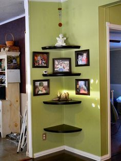 mobile home makeover   From Dé-bore to Décor In One Afternoon   My Mobile Home Makeover #CornerShelves #mobilehomekitchens
