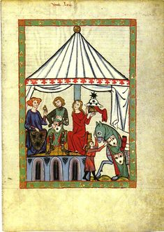 early 14th century. A circular single-poled tent from the Manesse Codex. Hooks or cords hold the doorway open.