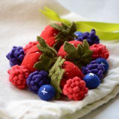 Felt Food Berries, Strawberries, Blueberries, Raspberries Children's Play Food. $22.00, via Etsy.
