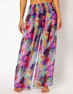 Image 4 of ASOS Penelope Floral Print Wide Leg Beach Pants