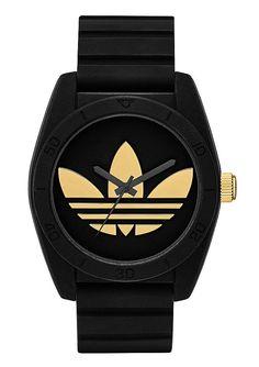 Armbanduhr, Adidas Originals, »Santiago ADH2912«.  Modische Armbanduhr mit einem kreativen Erscheinungsbild, die sich zu vielen verschiedenen Styles sehen lassen kann. Quartzwerk, Zifferblatt schwarz/goldfarben, Silikongehäuse schwarz, Ø ca. 42 mm, Edelstahlboden verschraubt, Silikonband schwarz, Gesamtlänge ca. 24,5 cm, verstellbar von ca. 17 cm bis ca. 22,5 cm, Dornschließe, Kunststoffglas, W...