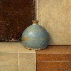 Aad Hofman, Compositie met vaasje - 15 x 15 cm - olieverf op paneel