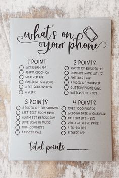 Grey What's On Your Phone Bridal Shower Game. What's On Your Phone. Bridal Shower What's On Your Phone Game. Fun Bridal Shower Games, Bridal Shower Planning, Bridal Shower Decorations, Bridal Showers, Bridal Shower Questions, Couple Shower Games, Bridal Shower Prizes, Wedding Planning, Things To Do At A Sleepover