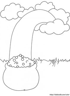 Free Printable Coloring Page: Rainbow with Pot of Gold