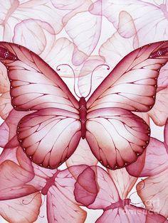 Pink Butterflies Painting  - Pink Butterflies Fine Art Print