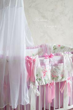 Купить Комплект в овальную кроватку Вальс цветов - розовый, белый, шебби-шик, шебби