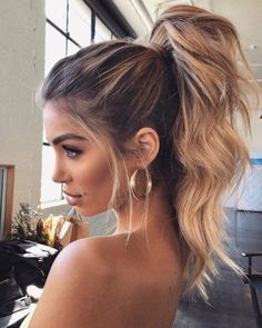 hair trends These Winter Hairstyles Will Take Your Breath Away - Prom hair - Winter Hairstyles, Pretty Hairstyles, Easy Hairstyles, Wedding Hairstyles, Messy Ponytail Hairstyles, Hairstyle Ideas, Formal Hairstyles, School Hairstyles, Simple Homecoming Hairstyles