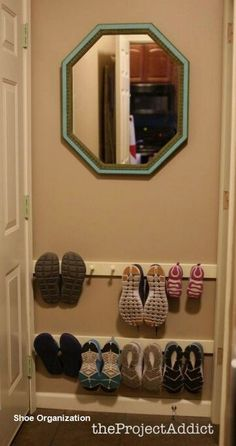 House 15 Ideas shoe organization closet small storage ideas How Do I Entryway Shoe Storage, Closet Shoe Storage, Small Closet Organization, Diy Organization, Shoe Racks, Organizing Ideas, Closet Shelves, Entryway Ideas, Entryway Decor