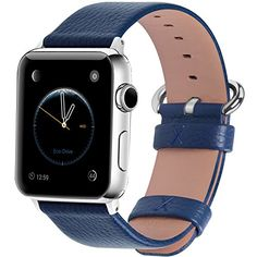 15 Colors for Apple Watch Bands 42mm Fullmosa Yan Calf Leather Replacement Band/Strap with Stainless Steel Clasp for iWatch Series 0 1 2 Sport and Edition Versions 2015 2016 2017 42mm Dark Blue