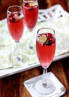 Cranberry-Lime Champagne Cocktail @FoodBlogs