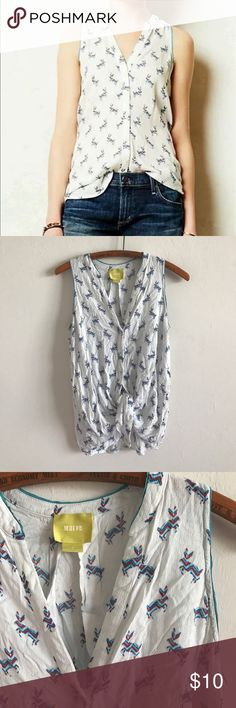 Maeve Anthropologie button down sleeveless top in used condition. Super light weight and flattering Anthropologie Tops Button Down Shirts