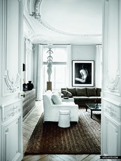 cool cicle rug in beautiful old room w traditional molding.
