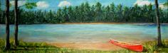 2015-2The Red Canoe, Acrylic on Canvas, 8 x 24 inches, Copyright Wendie Donabie SOLD Framed.  A well-used canoe is drawn up onto the shore after a quiet morning paddling on the lake. But where are the paddlers?I'll leave that to your imagination.