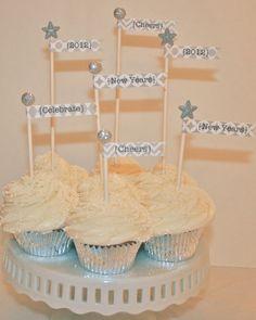 new years cupcake flags free