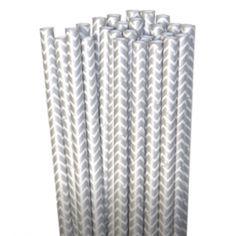 Chevron Paper Straws: Silver Metallic - $3.75 for 25 count shopsweetsandtreats.com