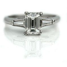SO BEAUTIFUL - Smaragd geschnitten Verlobungsring 1.46ctw GIA Smaragd geschnitten WeinleseVerlobungsring, smaragdgrüne geschliffenen Diamanten 14 K White Gold Diamond Ringgröße 6!