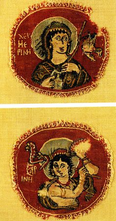 The Coptic textile is from the Musée du Louvre and was recently in an exhibition in Gerona. 5th cent