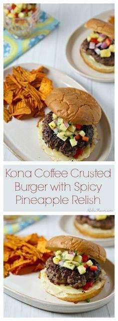 Kona Coffee Crusted Burger with Spicy Pineapple Relish - flavorful homemade kona coffee rub crusts a juicy burger and accented with spicy pineapple relish and nestled in a sweet Hawaiian bun   Aloha Flavor ~ http://alohaflavor.com