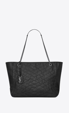 0bf2a46001 large niki shopping bag in crinkled and quilted black leather