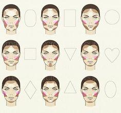 Make-up Highlight/Contour/Blush face chart Face Makeup chart Face Face Makeup chart HighlightContourBlush Makeup Face Contouring, Contour Makeup, Contouring And Highlighting, Skin Makeup, Makeup Brushes, Contour Heart Shaped Face, Heart Shape Face, Face Shape Chart, Face Shape Contour