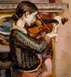 Angelica Playing the Violin. Duncan Grant painted this portrait of his daughter Angelica in 1934 at their farmhouse, Charleston.