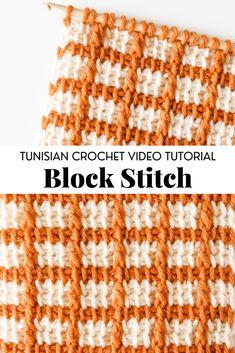 Crochet Block Stitch, Crochet Blocks, Crochet Stitch Tutorial, Crochet Crafts, Knit Crochet, Yarn Crafts, Crochet Baby, Crochet Projects, Tunisian Crochet Patterns